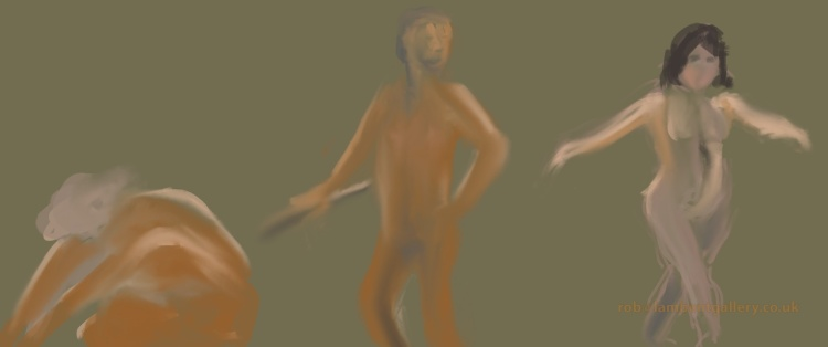 Rob sent us his i-pad paintings from Mortlake; this is the 'Dance'