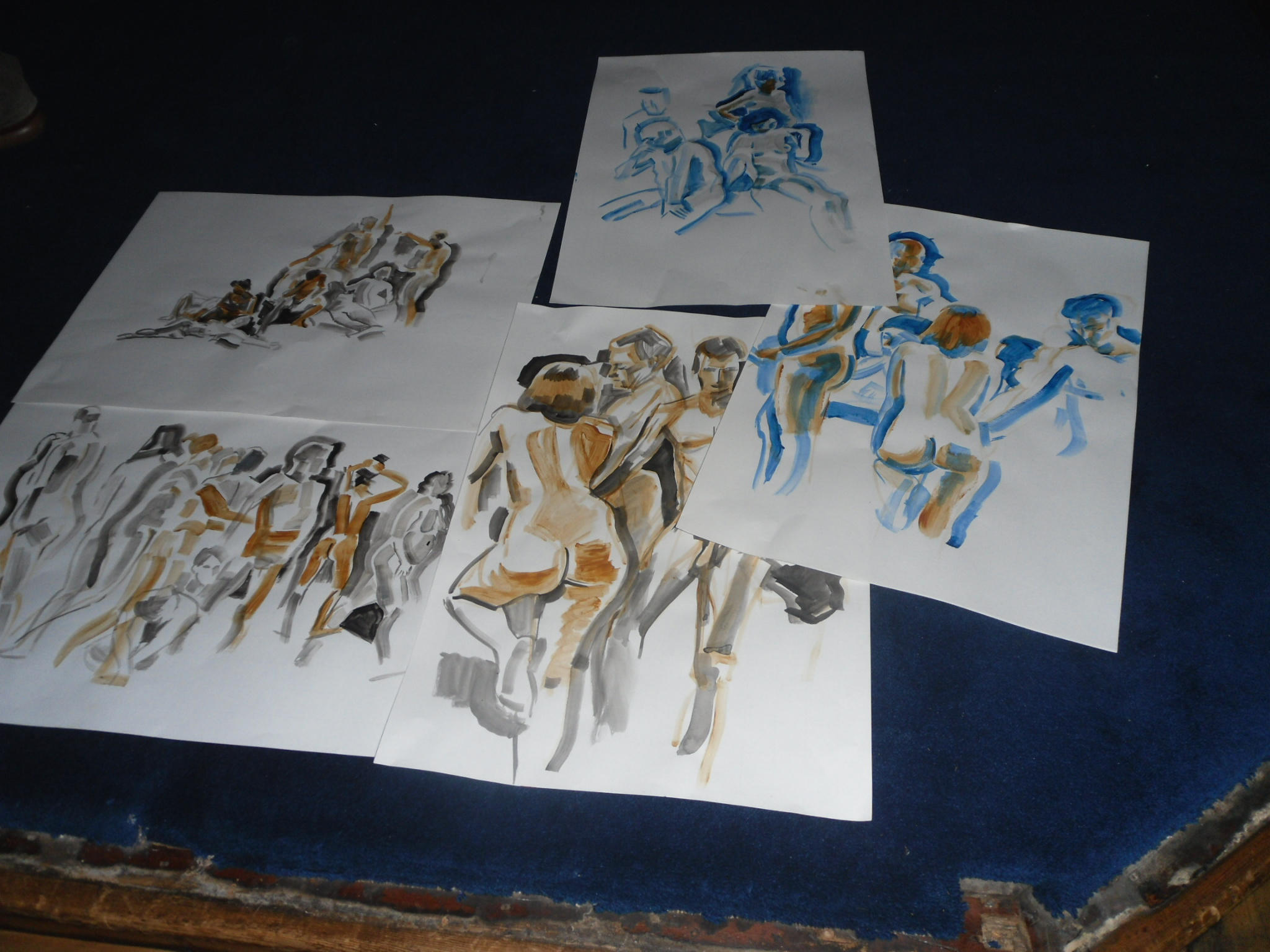 a selection of Mike's paintings in Mortlake