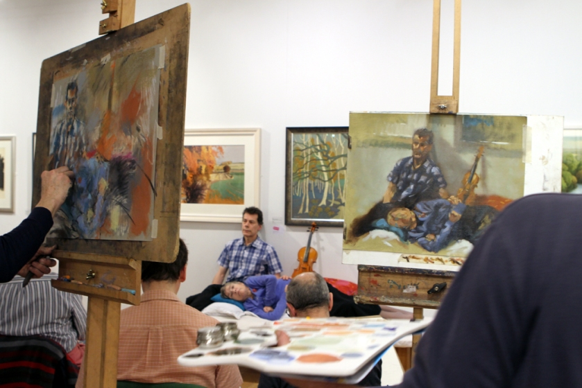 a clothed 2 hour portrait pose is standard weekly fare for artists at Hesketh Hubbard life drawing at The Mall Galleries