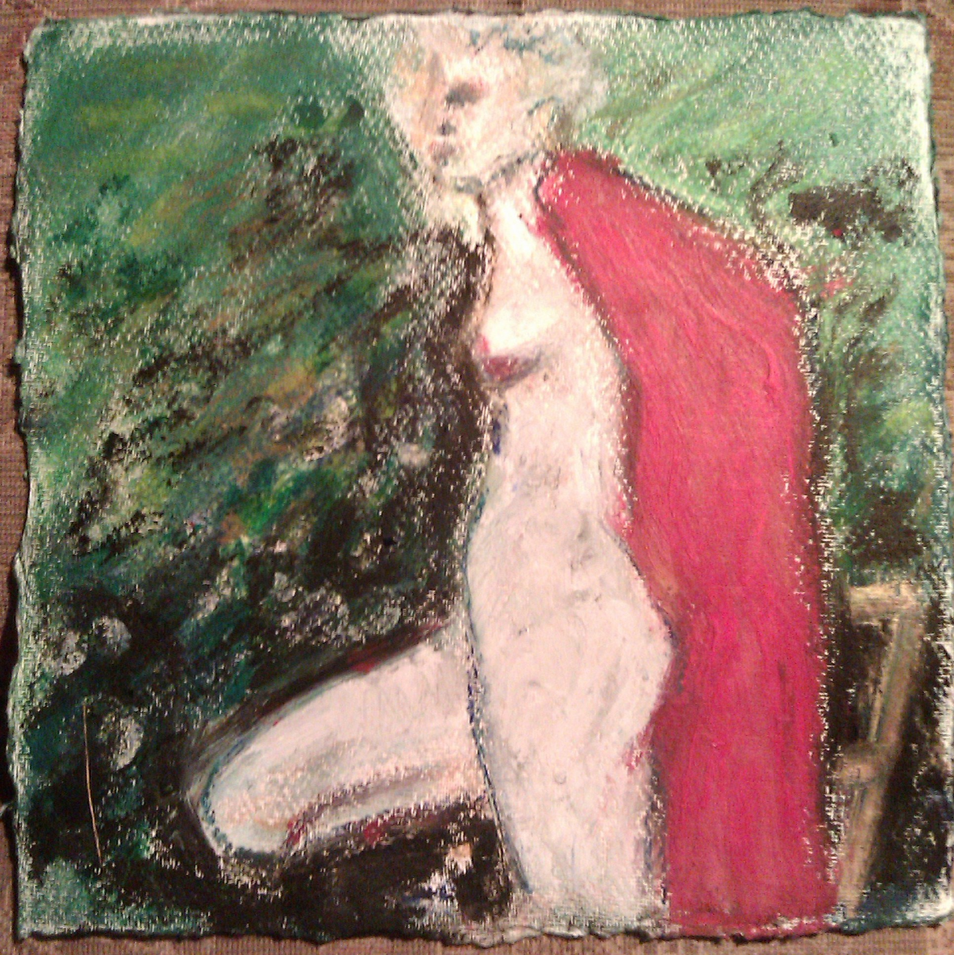 Posing in a garden in South East London, a warm evening and a red shawl. Pastel by Arnie
