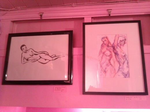 'Opposing Pair' by Chris Francis on the right, and a reclining female nude by Lily Lemaire on the left.