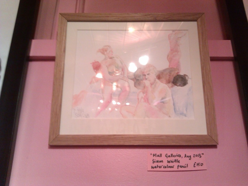 Simon Whittle's watercolour and pencil picture from our event at The Mall Galleries this August