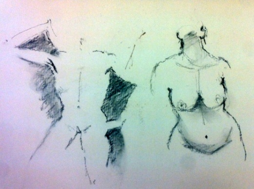 Negative spaces - the shapes where the body is not - are used by artists to create the form of the figure within