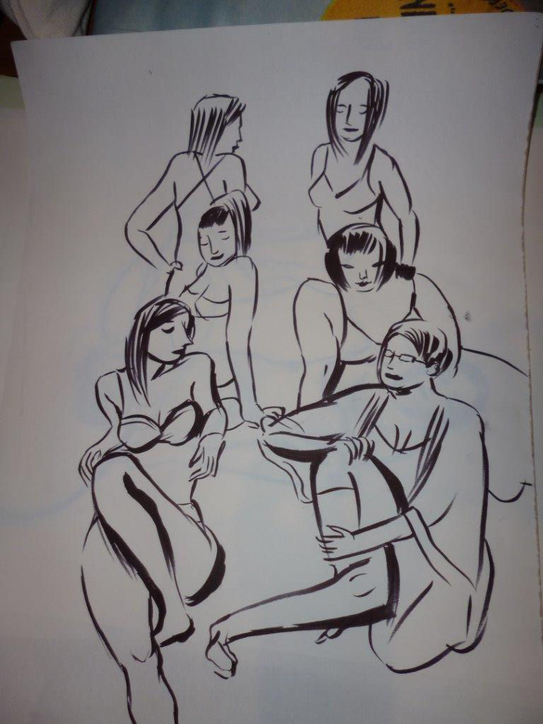 Collection of underwear models, or a ridiculous all girl band as one of them observed!