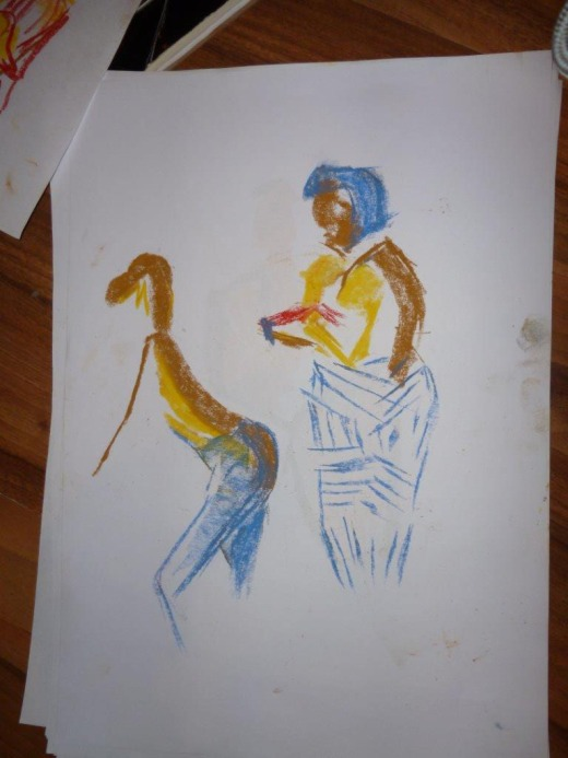 Artist Khadijah likes to use oil pastels I believe
