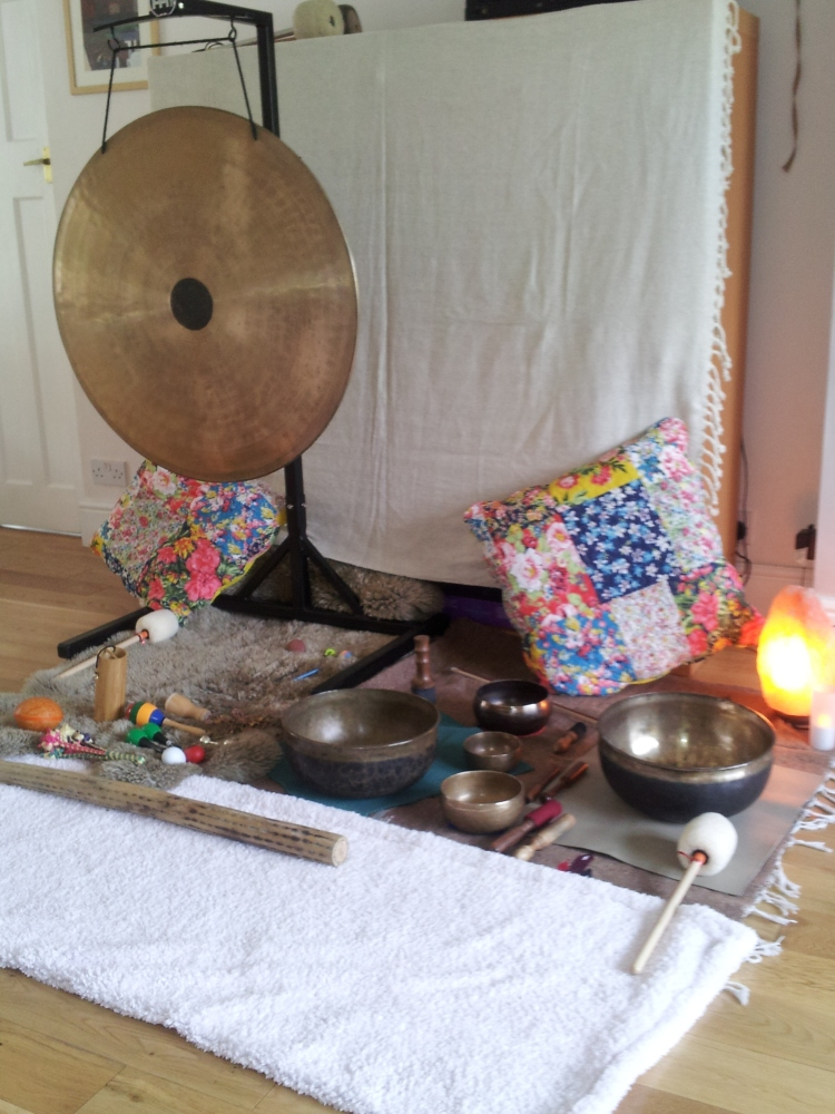 Some of Sarah's instruments from a soundbath I experienced